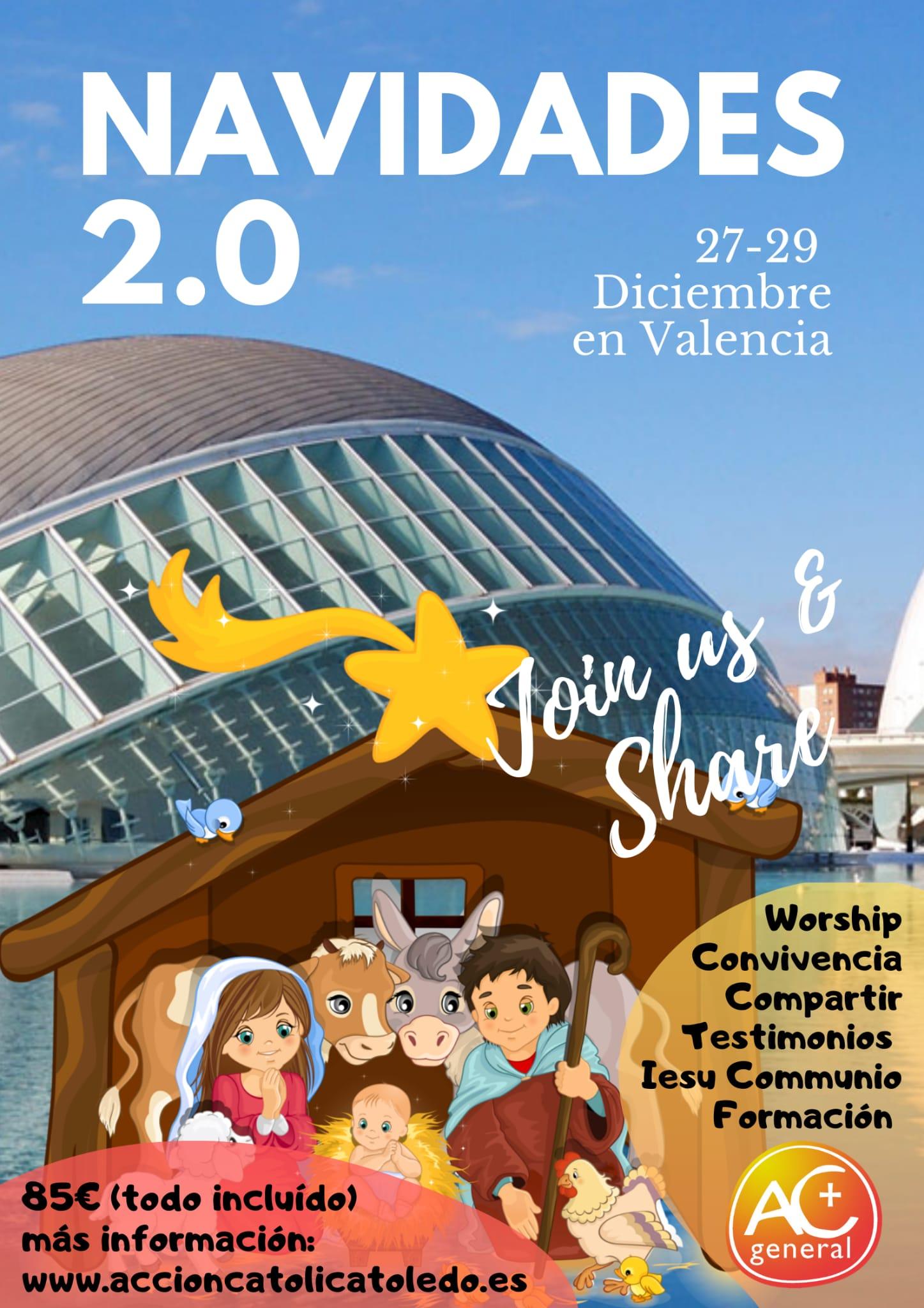 Cartel Convivencia Navidad en Valencia. Acción Católica General de Toledo